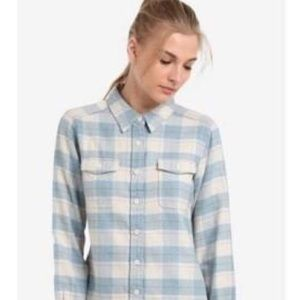 Patagonia light blue and cream plaid long sleeve